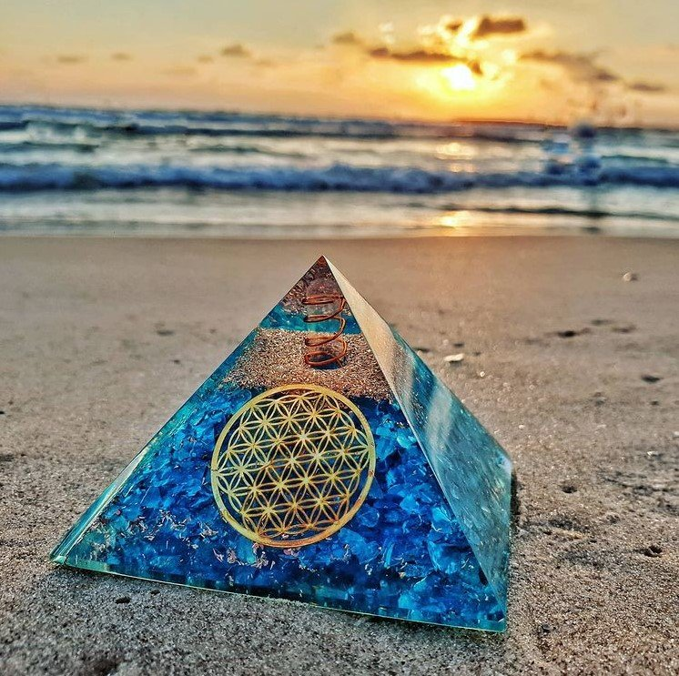 orgonite pyramid for sale on the beach