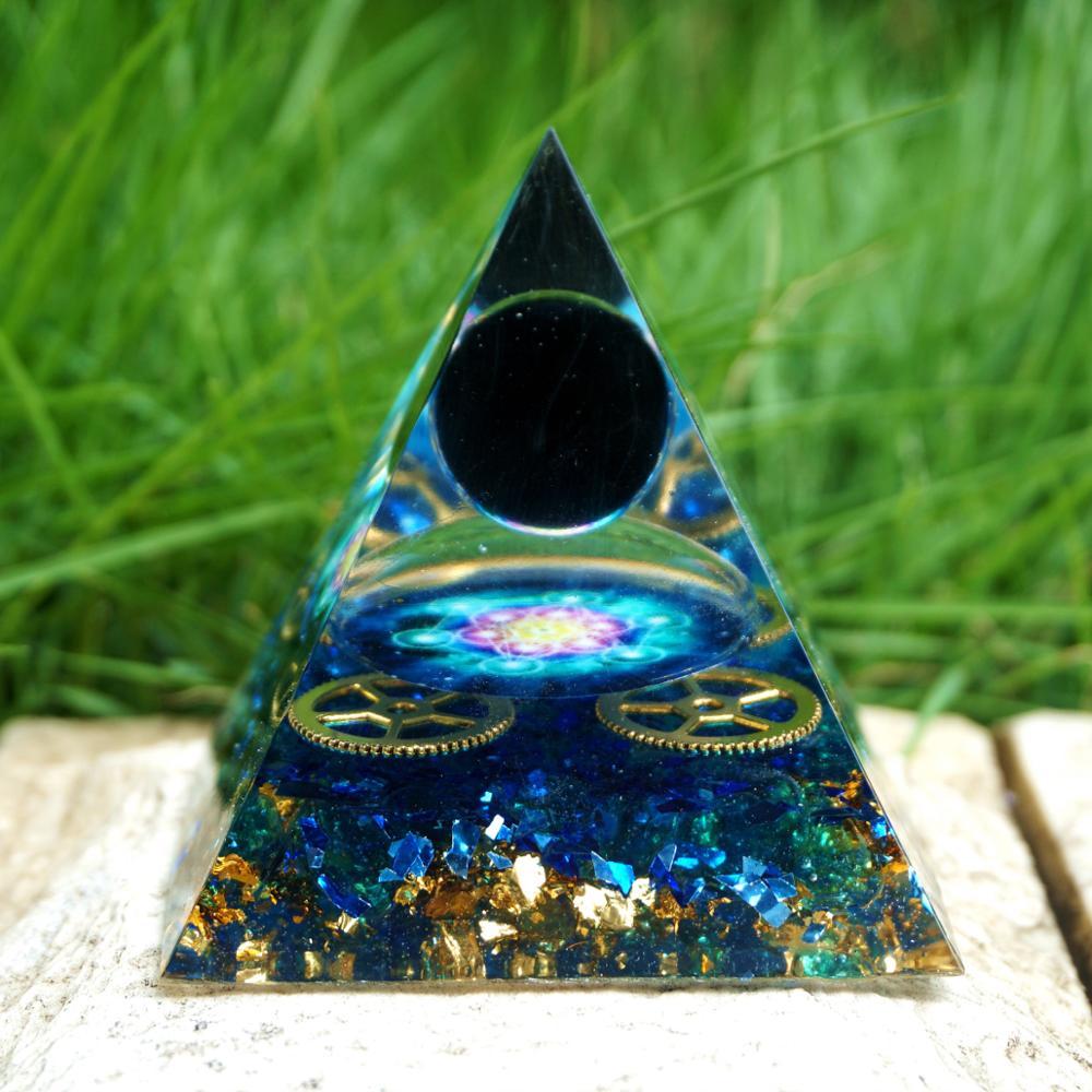 Powerful Obsidian Crystal Sphere Orgone Pyramid with Blue Quartz Gear Stunning Energy 5